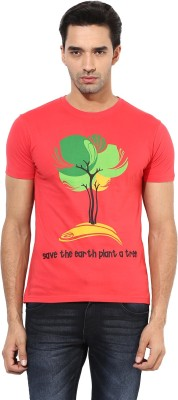 Okane Printed Men's Round Neck Red T-Shirt