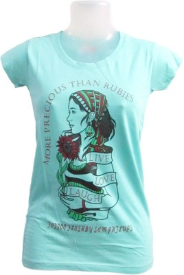Revinfashions Solid Girl,s Round Neck Light Green T-Shirt