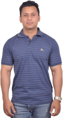 Vibgyor Striped Men's Polo Blue, Yellow T-Shirt