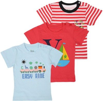 Ohms Printed, Striped Baby Boy,s Round Neck Red, White, Blue T-Shirt