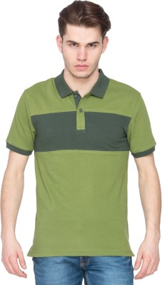 Kanva Striped Men's Polo Green T-Shirt