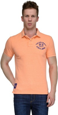 Tailor Craft Solid Men's Polo Neck Orange T-Shirt