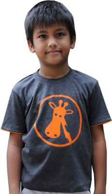 Snowflakes Printed Boy's Round Neck Grey T-Shirt