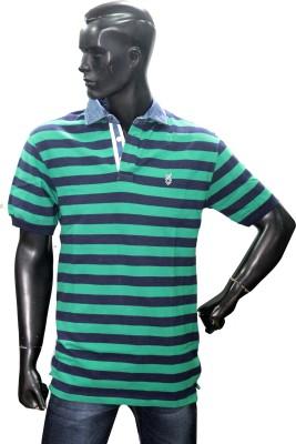Riddhi Siddhi Striped Men's Flap Collar Neck T-Shirt