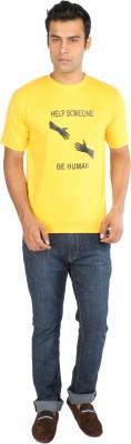Crescent Printed Men's Round Neck Yellow T-Shirt