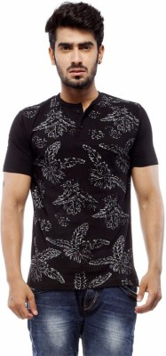 Trendy Bandey Printed Men's Henley Black T-Shirt