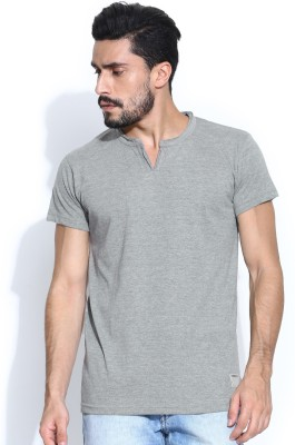 Hubberholme Solid Men's Fashion Neck Grey T-Shirt
