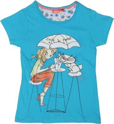 Elle Printed Girl's Round Neck Light Blue T-Shirt