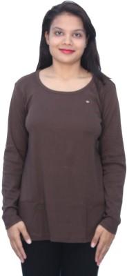 Romano Solid Women's Scoop Neck Brown T-Shirt