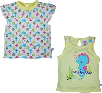 FS Mini Klub Printed Baby Girl's Round Neck Yellow T-Shirt