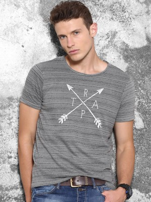 Wrogn Striped Men's Round Neck Grey T-Shirt