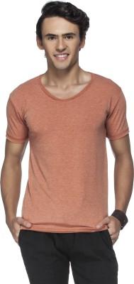 Tinted Solid Men's Round Neck Orange T-Shirt