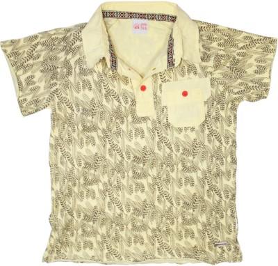 FS Mini Klub Printed Boy's Polo Neck Yellow T-Shirt