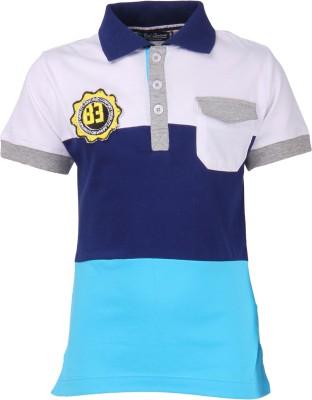 Cool Quotient Striped Boy's Polo Neck Multicolor T-Shirt