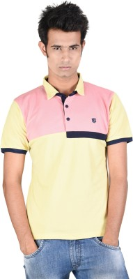 Juene Solid Men's Polo Neck Yellow, Pink T-Shirt