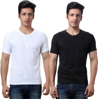 TeeMoods Solid Mens Henley Black, White T-Shirt