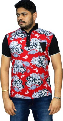 Navratna Nxt Printed Men,s Flap Collar Neck Red T-Shirt