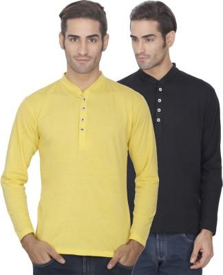 eSOUL Solid Men's Henley Yellow, Black T-Shirt