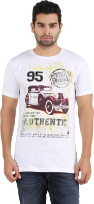 R - Cross Printed Men's Round Neck White T-Shirt