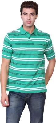 D-Green Striped Men's Polo Green T-Shirt