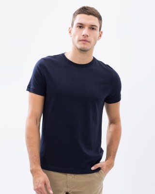 Vogue Solid Men's Round Neck Black T-Shirt
