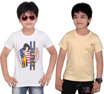 Dongli Solid Boys Round Neck Beige, White T-Shirt