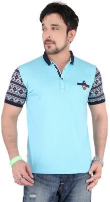 Moncheri Printed Men's Fashion Neck Blue T-Shirt