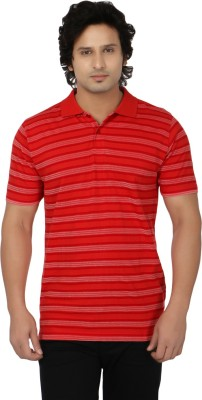Side Effects Striped Men's Polo Neck Red T-Shirt