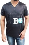Myfizi Printed Men's V-neck Black T-Shir...