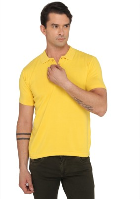 Donear Nxg Solid Men's Polo Neck Yellow T-Shirt