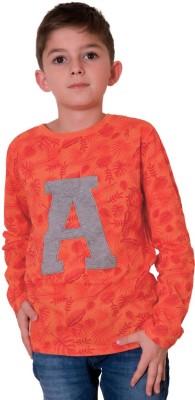 Aristot Graphic Print Boy,s Round Neck Orange T-Shirt