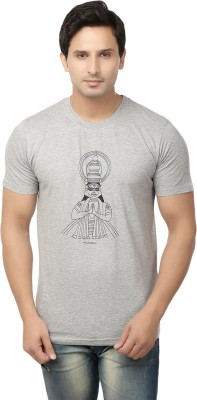 Hattha Printed Men's Round Neck Grey T-Shirt