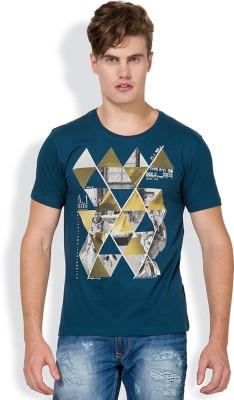 Locomotive Printed Men's Round Neck Blue T-Shirt