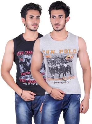 White Moon Printed Men's Round Neck Black, Grey T-Shirt