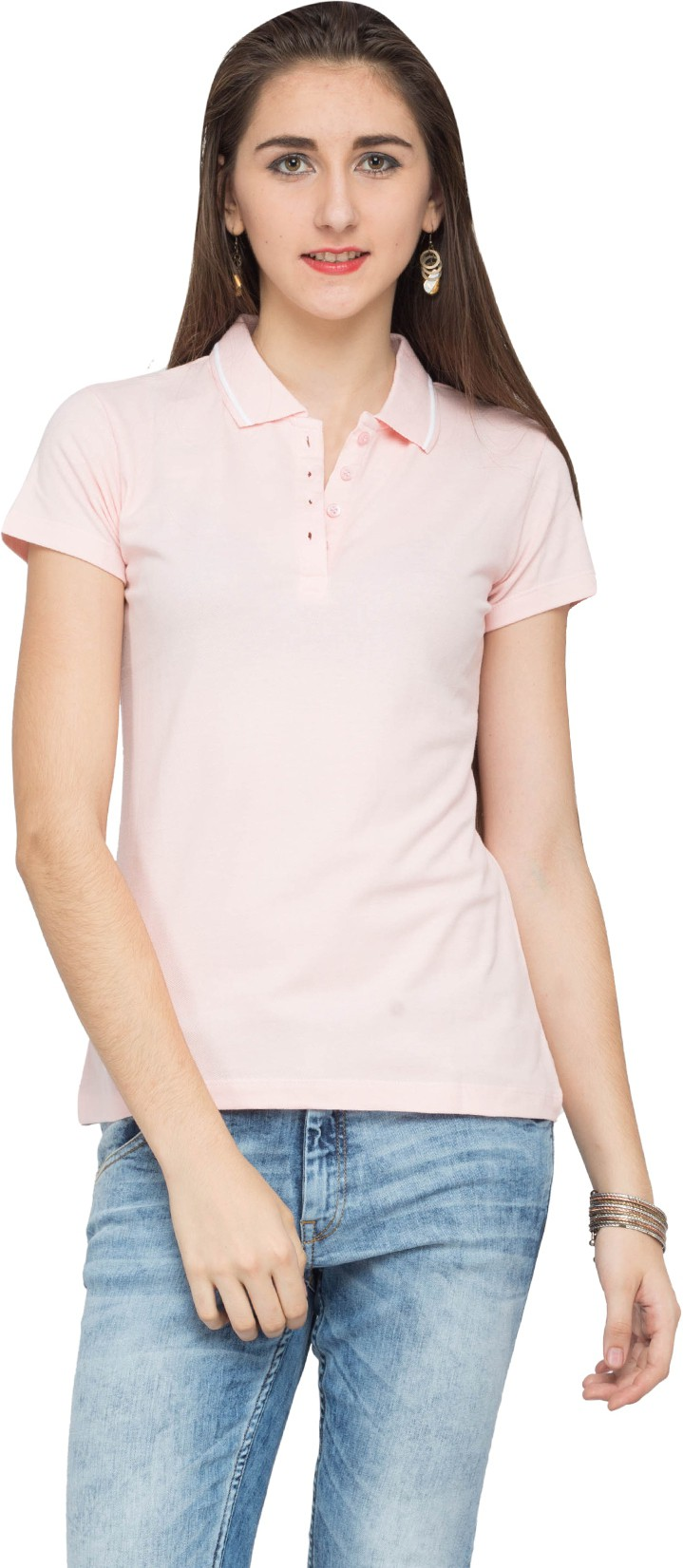 Alibi Solid Womens Polo Neck Pink T-Shirt