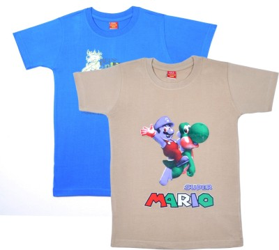 Sathiyas Printed Boy's Round Neck Blue, Beige T-Shirt