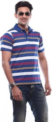 SHAYAN EXPORT Printed Men's Flap Collar Neck Blue T-Shirt