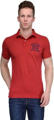 Tailor Craft Solid Men's Polo Neck Red T-Shirt