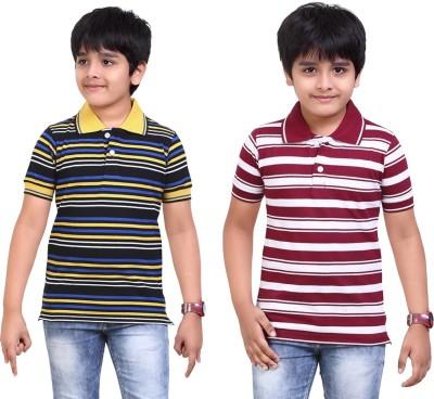 Dongli Striped Baby Boy's Polo Neck Black, Maroon T-Shirt
