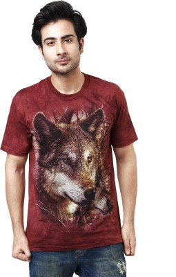 The Mountain Printed Men's Round Neck Maroon, Brown T-Shirt