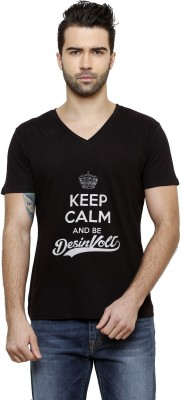 Desinvolt Printed Men's V-neck Black T-Shirt