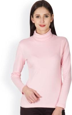 Hypernation Solid Women's Turtle Neck Pink T-Shirt
