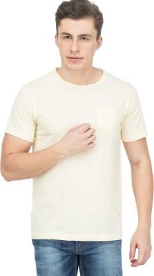 Le Bison Solid Men's Round Neck Gold T-Shirt