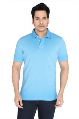 Jadeblue Solid Men's Polo Neck Blue T-Shirt