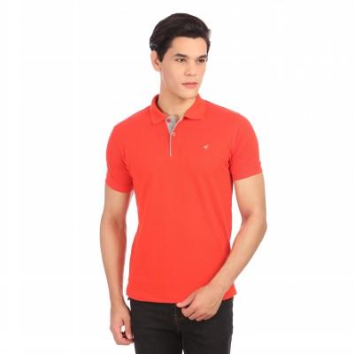 Neva Self Design Men's Polo Neck Orange T-Shirt