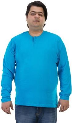 BIGBANANA Solid Men's Henley Light Blue T-Shirt