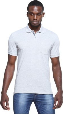 OCTAVE Solid Men's Polo Neck Grey T-Shirt