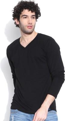 Cult Fiction Solid Men's V-neck Black T-Shirt