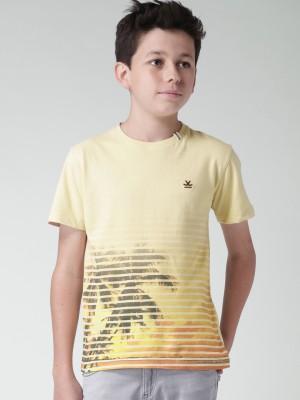 WROGN Graphic Print Boy's Round Neck Beige T-Shirt