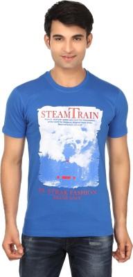 Strak Printed Men's Round Neck Blue T-Shirt